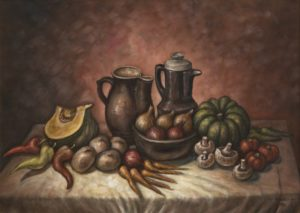 Still life painting by Alex Kolozsy. Artwork features an arrangement of vegetables, fruit and water jugs
