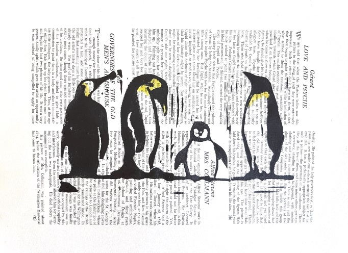 Artwork featuring penguins and scanned text