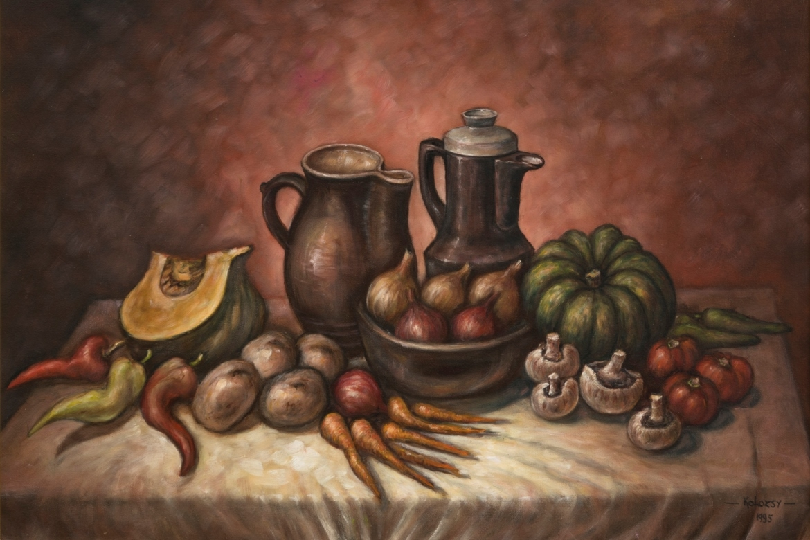 Still life painting with vegetables and jugs on a table