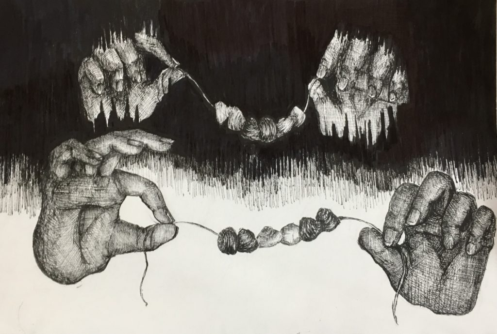 black pen drawing of two pairs of hands holding a string of shells
