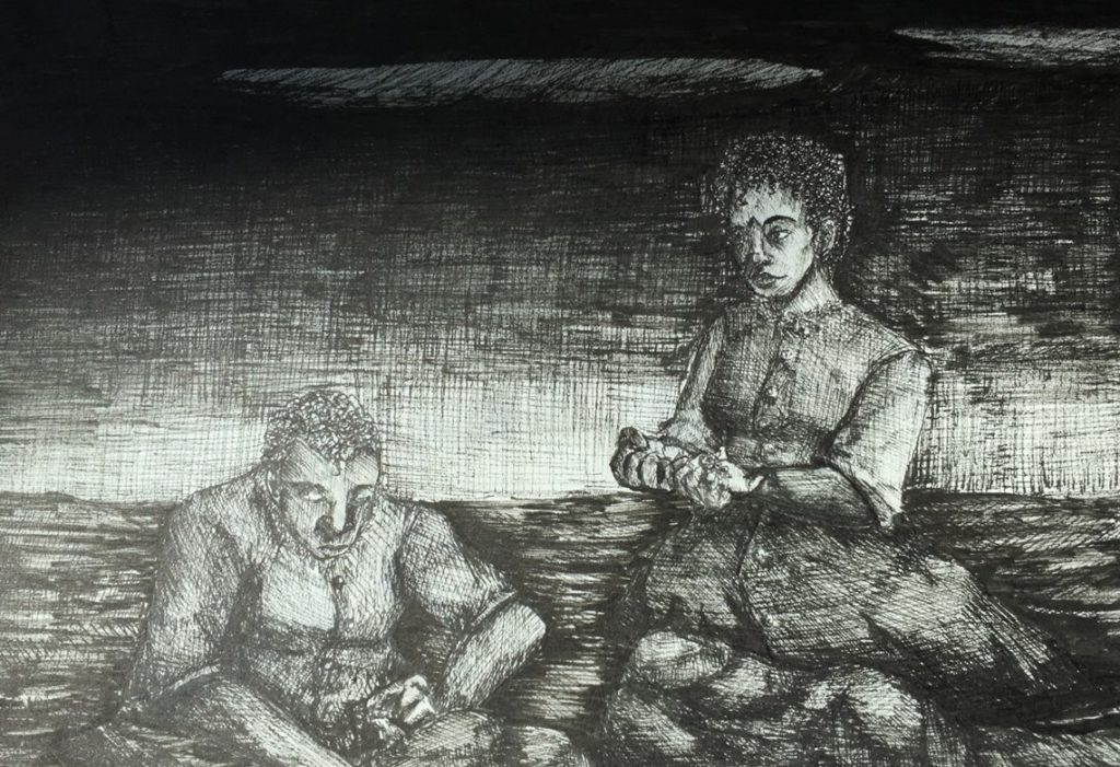 black pen drawing of two women in dresses at the beach shell stringing necklaces