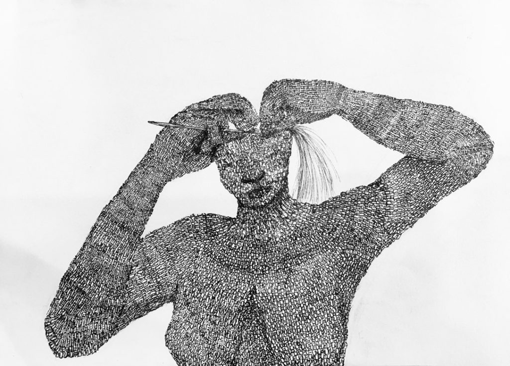 Black pen drawing of a woven woman weaving herself together.