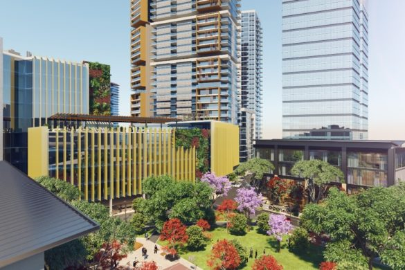 3D rendering of glass buildings surrounding a park with trees