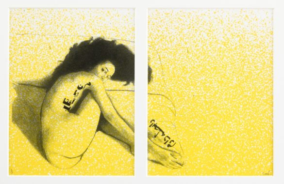 Yellow print of woman laying naked on bed