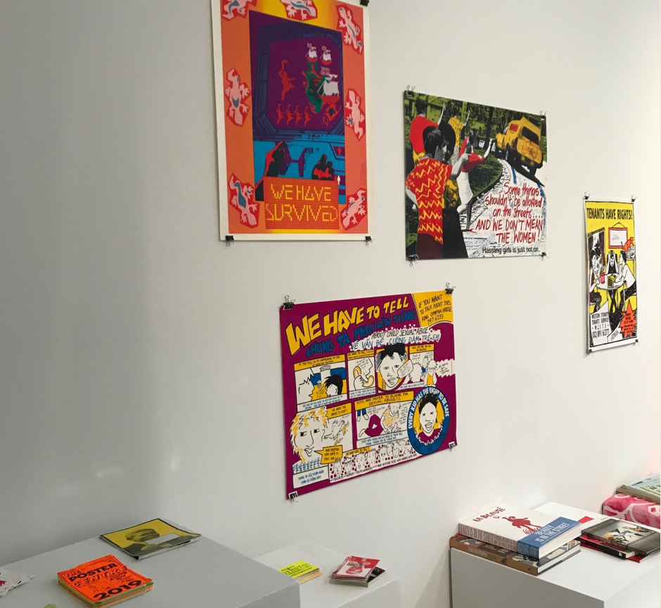 Retro prints and some printmaking books on plinths